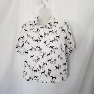 Japna Horse pattern cropped button front shirt
